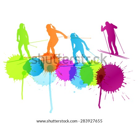 Active young woman cross country skiing sport silhouette vector background concept with color splashes - stock vector