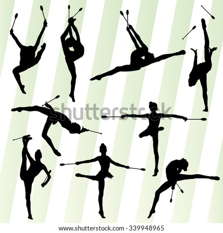 Active young women calisthenics sport gymnasts silhouettes with clubs illustration vector set