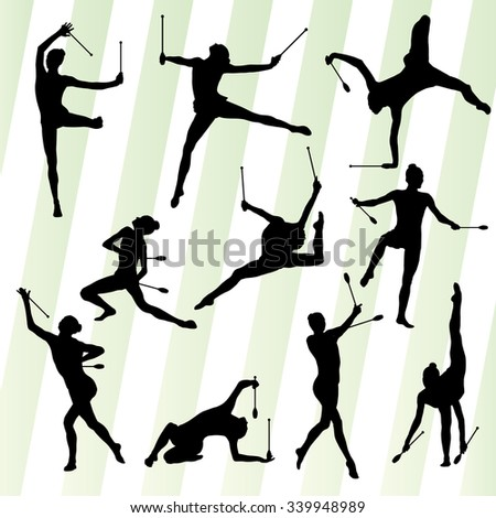 Active young women calisthenics sport gymnasts silhouettes with clubs illustration vector set - stock vector