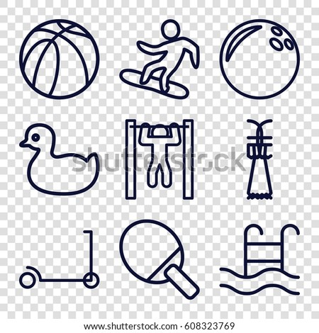 Activity icons set. set of 9 activity outline icons such as duck, kick scooter, bar   tightening, basketball, swimming pool, snowboard, Shuttlecock, ping pong racket