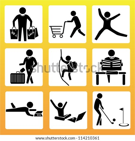 activity in holiday set - stock vector