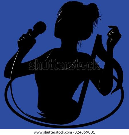 Activity in singing. - stock vector
