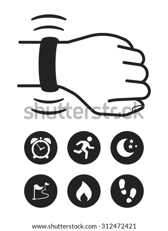 Activity tracker-band. Modern technology. Set of icons - stock vector