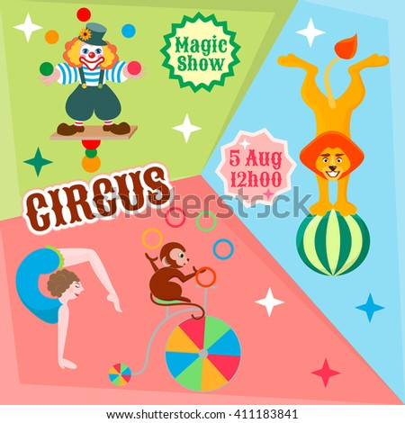Actors circus juggling clown, lion on the ball, and the monkey gymnast on the bike to advertise a circus show - stock vector