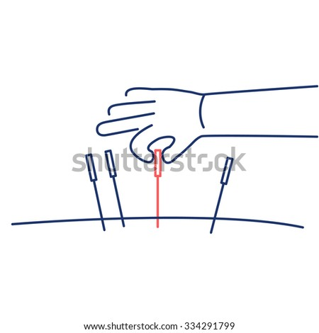 Acupuncture healing red and blue linear icon on white background | flat design alternative healing illustration and infographic - stock vector