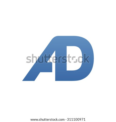 AD letter logo connected - stock vector