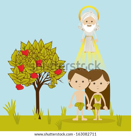 adam and eve over landscape background vector illustration - stock vector