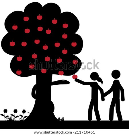 Adam and Eve takes a apple from tree. It is a stick figure vector. EPS10  - stock vector