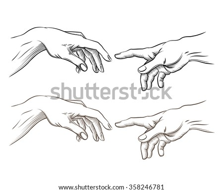 Adam hand and hand of God like creation. Hope and help, assistance and support religion, vector illustration - stock vector