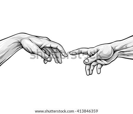 Adam hands. Black and white vector illustration - stock vector