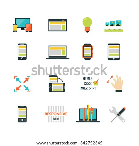 Adaptive responsive web design flat icons set isolated vector illustration - stock vector