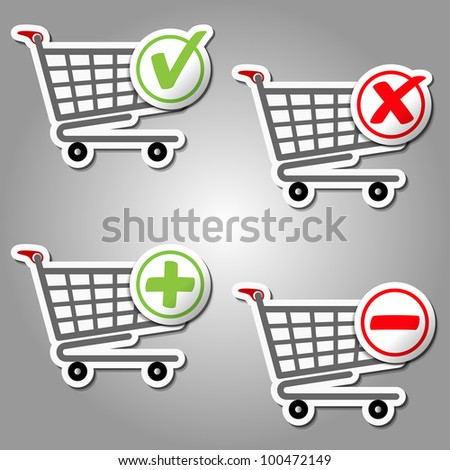 Add Delete Shopping Cart Items. Vector - stock vector