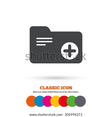 Add document folder sign. Accounting binder symbol. Bookkeeping management. Classic flat icon. Colored circles. Vector - stock vector