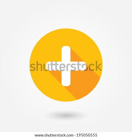 Add plus icon in flat style with long shadow - stock vector