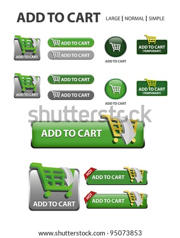 add to cart button, collection of shopping icons and buttons - stock vector