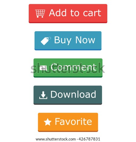 Add to cart, buy now comment dowload favorite buttons - stock vector