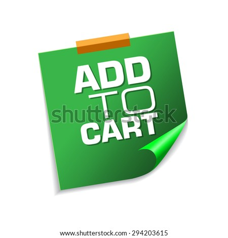 Add To Cart Green Sticky Notes Vector Icon Design