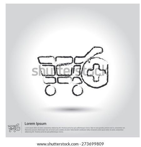 add to cart icon, Sketch Doodle pictogram icon on gray background. Vector illustration - stock vector