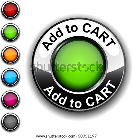 Add to cart realistic button. Vector. - stock vector