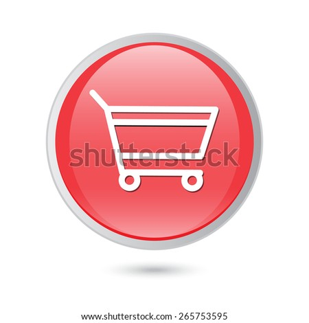 add to cart - red glossy button. - stock vector