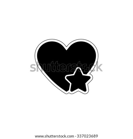 Add to favorites - Heart with Star - vector icon - stock vector
