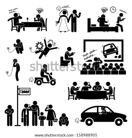 Addiction Obsession Using Smartphone Handphone Phone Stick Figure Pictogram Icon - stock vector