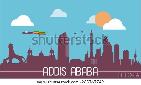 Addis Ababa city Ethiopia skyline silhouette flat design vector illustration - stock vector