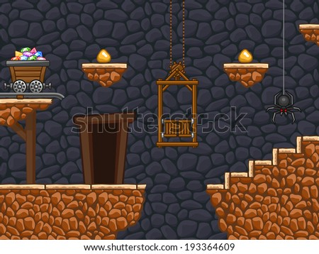 Additional part of my gold mine background with different objects. - stock vector