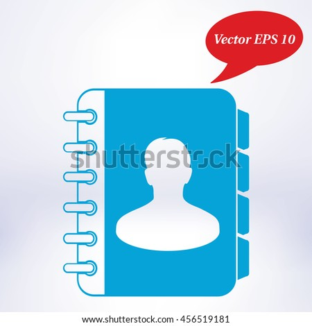 Address book icon. Flat design style. EPS10. - stock vector