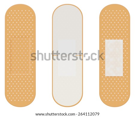 Adhesive bandage.   Vector illustration isolated on white background - stock vector