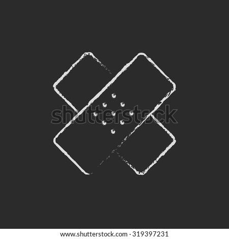 Adhesive bandages hand drawn in chalk on a blackboard vector white icon isolated on a black background. - stock vector