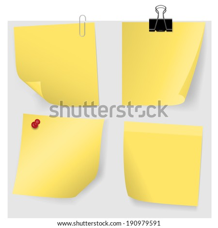 Adhesive Notes with pin and clips - stock vector