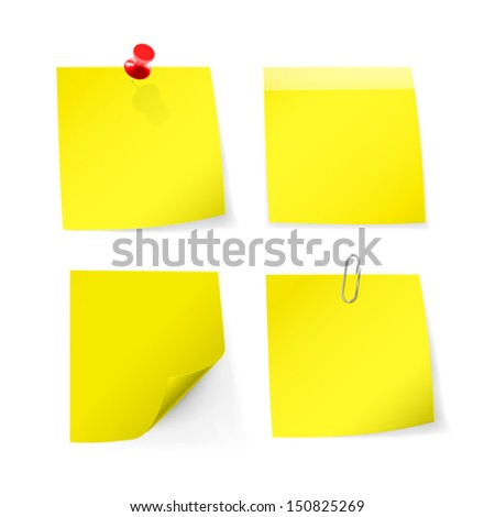 Adhesive notes with pin, clip. Vector illustration