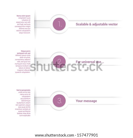 Adjustable eps10 vector composition of an abstract minimal geometric paper background based list elements with content and menu field for numbering or lettering, colorful circles for universal use - stock vector