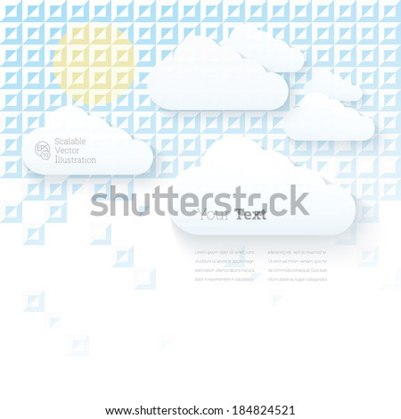Adjustable eps10 vector design. Minimal geometric abstract clouds template illustration with artistic mosaic pattern background.  For website element or for brochure graphics layout. - stock vector