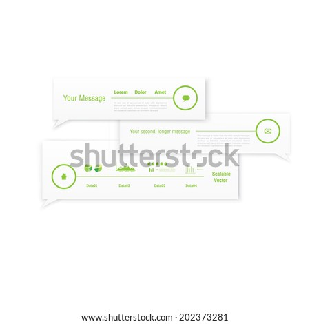 Adjustable green bubble speech page layout element vectors - stock vector