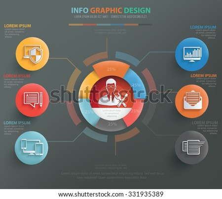 Admin, database, network info graphic design, clean vector - stock vector