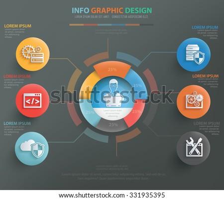 Admin, database, network info graphic design, clean vector - stock vector