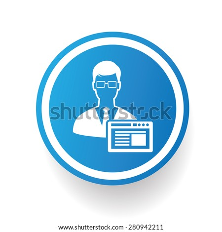 Admin icon on blue button,white background,clean vector - stock vector