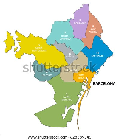 Administrative and political map of the Catalan capital of Barcelona
