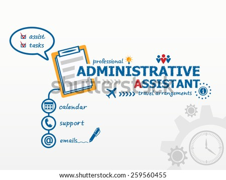 Administrative assistant business concept and notebook. Hand writing Administrative assistant with blue marker. - stock vector