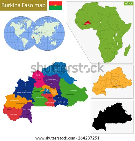 Administrative division of Burkina Faso, landlocked country in West Africa - stock vector