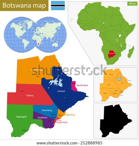 Administrative division of the Federal Republic of Botswana - stock vector