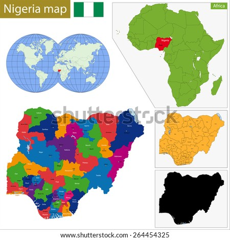 Administrative division of the Federal Republic of Nigeria - stock vector