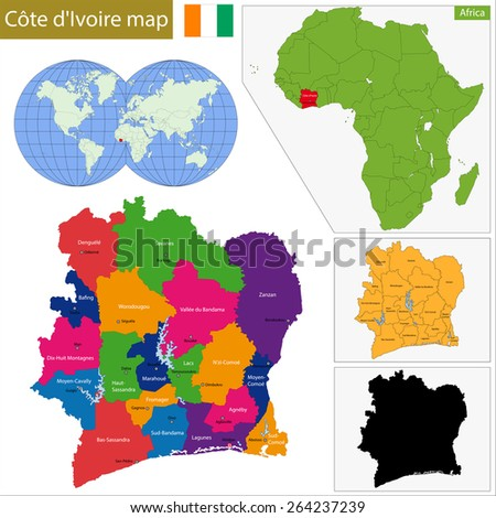 Administrative division of the Republic of Cote dIvoire - stock vector
