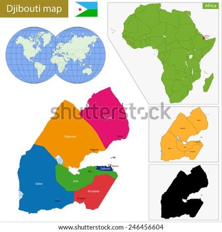Administrative Division Republic Djibouti Stock Vector - Republic of djibouti map