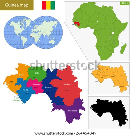 Administrative division of the Republic of Guinea - stock vector