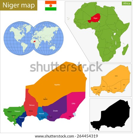 Administrative division of the Republic of Niger - stock vector