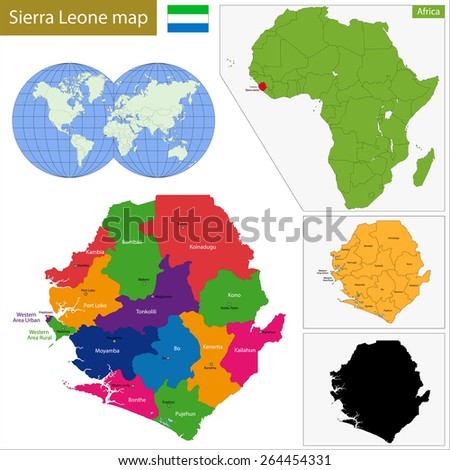 Administrative division of the Republic of Sierra Leone - stock vector