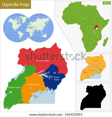Administrative division of the Republic of Uganda - stock vector